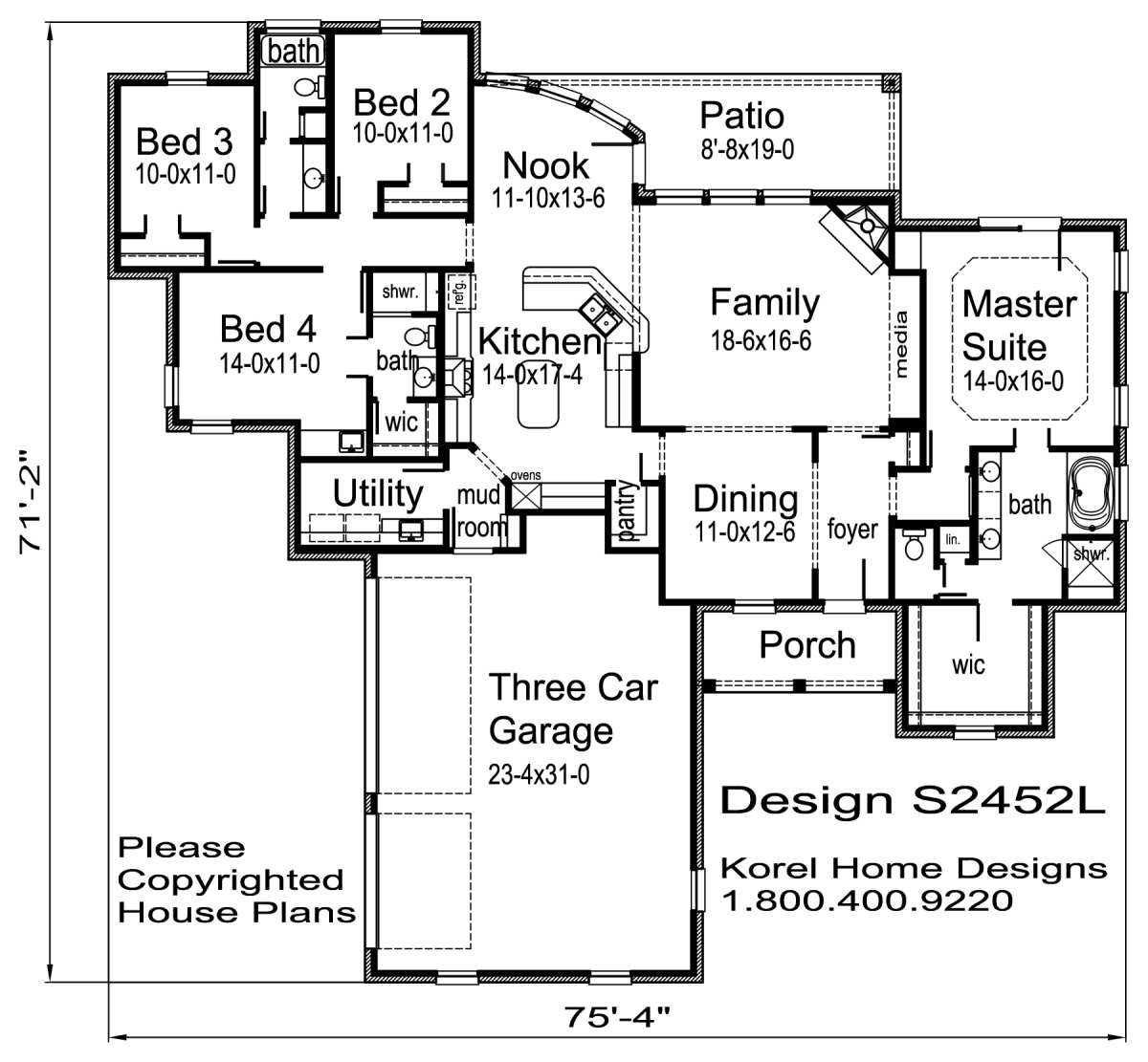 S2452l texas house plans over 700 proven home designs online by korel home designs - Single floor housessquare meters ...