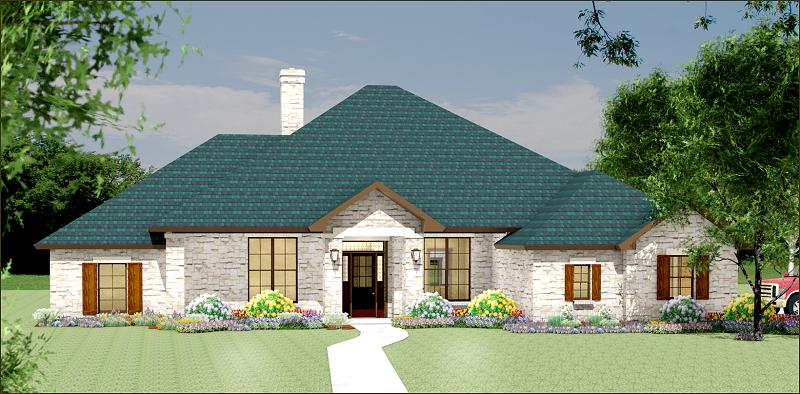 Luxury house plan s3338r texas house plans over 700 for Ranch house elevations