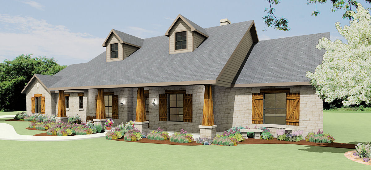 Texas hill country ranch s2786l texas house plans over for Ranch style home blueprints