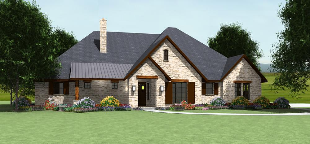 Country plan s2622r texas house plans over 700 proven for Hill country style home plans
