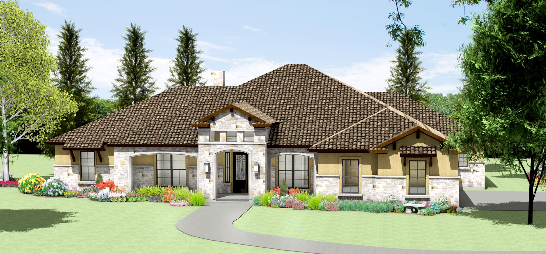 Texas hill country limestone house plans for Texas home builders floor plans