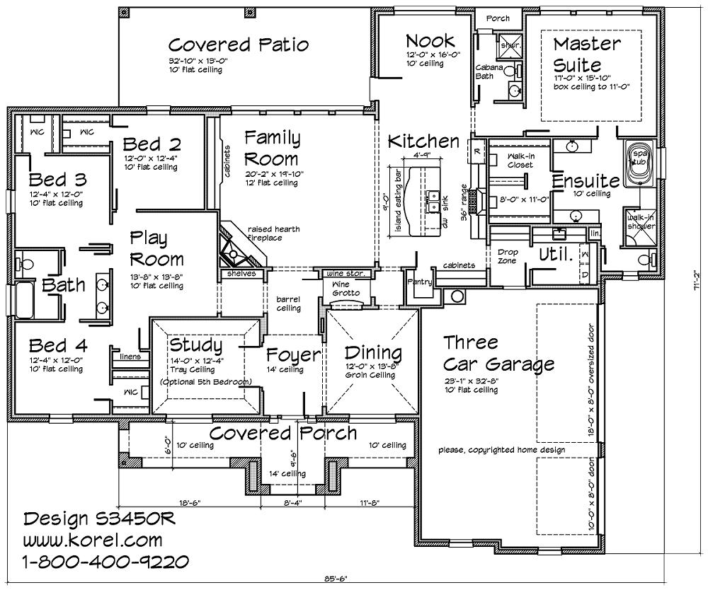 S3450r texas tuscan design texas house plans over 700 for Single story floor plan