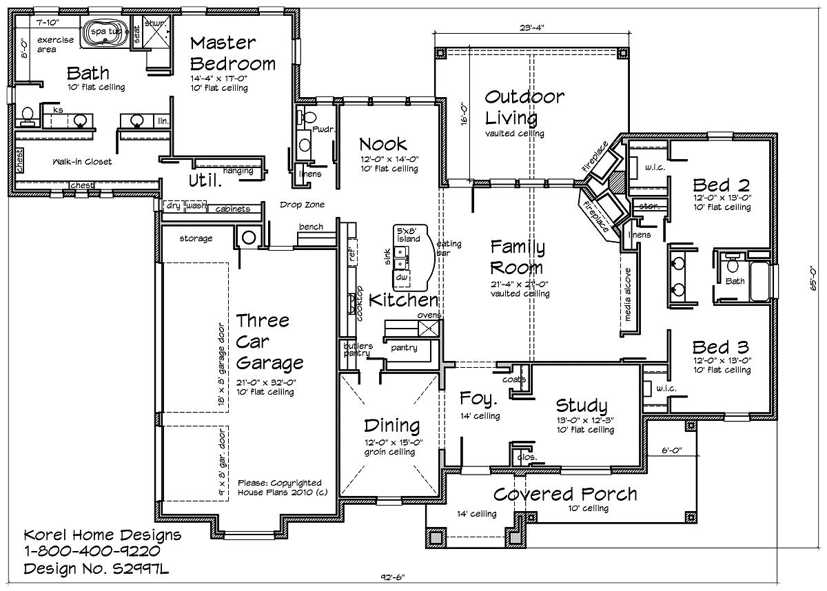 Country home design s2997l texas house plans over 700 for Floor plans texas