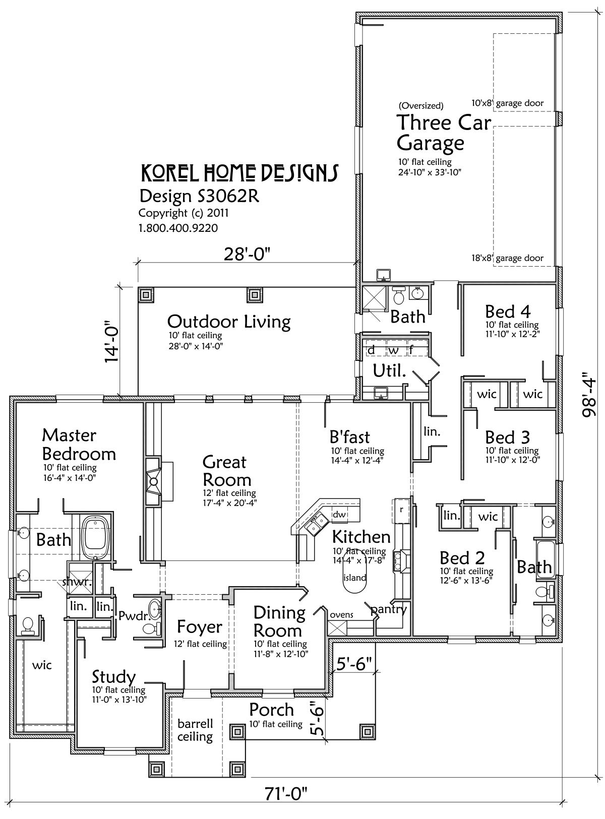 family home plan s3062r | texas house plans - over 700 proven home