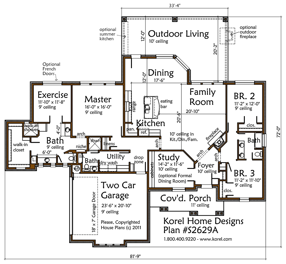 Texas country plan s2629a texas house plans over 700 for Texas country house plans