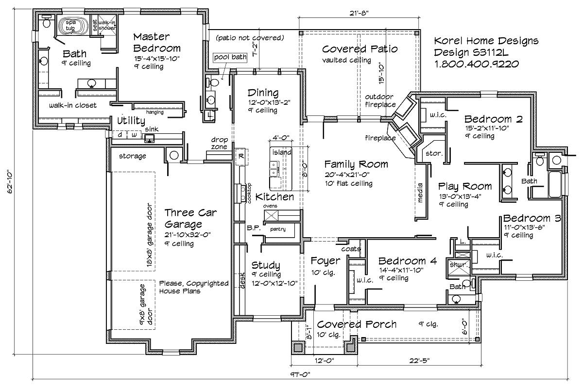 S3112l texas house plans over 700 proven home designs for Four bedroom floor plan