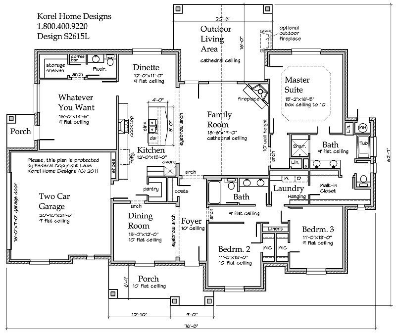 Country plan s2615l texas house plans over 700 proven for Korel home designs online
