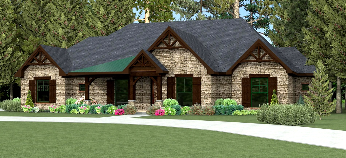 Texas house plan u2974l texas house plans over 700 for Texas ranch house plans with porches