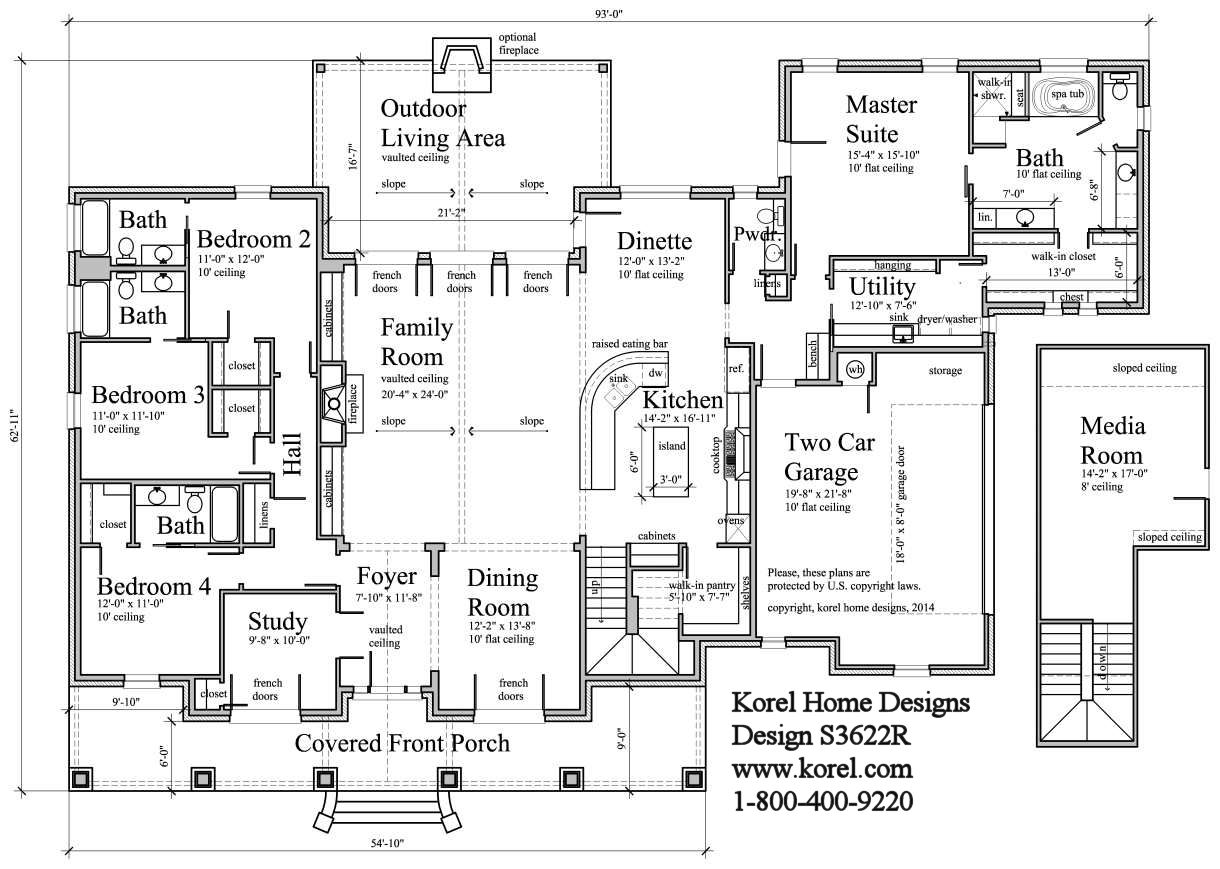 Country house plan s3622r texas house plans over 700 for Korel home designs online