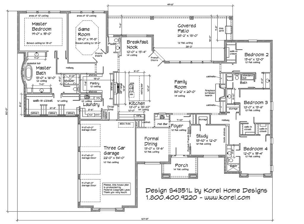 S4351l texas house plans over 700 proven home designs Texas ranch floor plans